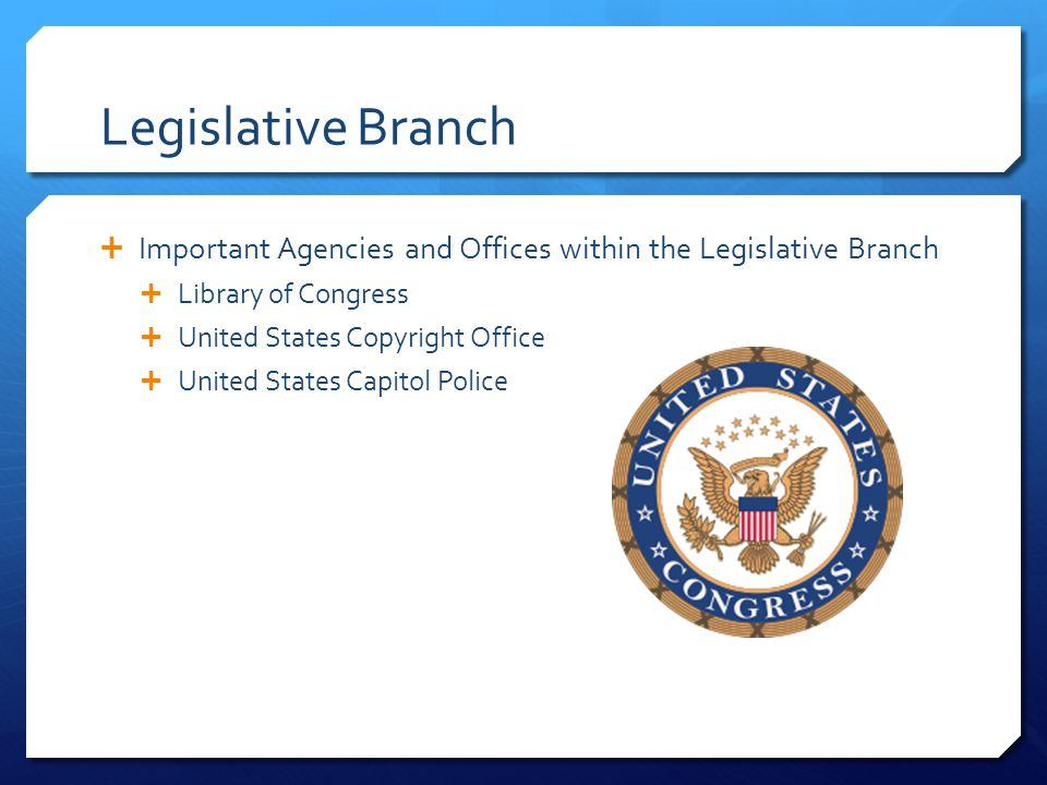 Legislative Branch Important Agencies and Offices within the Legislative Branch. Library of Congress.