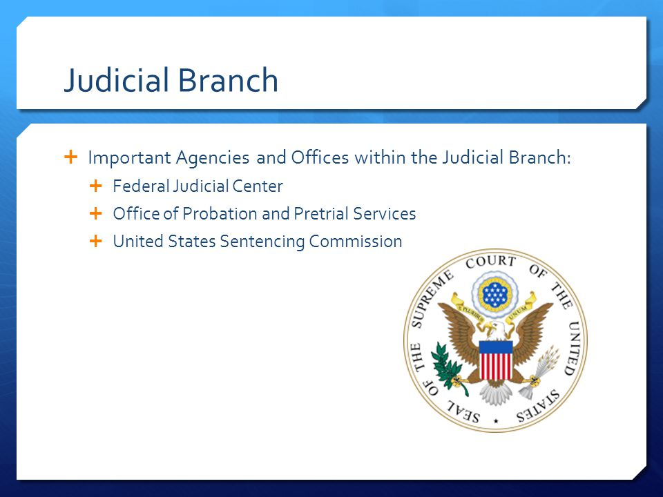 Judicial Branch Important Agencies and Offices within the Judicial Branch: Federal Judicial Center.