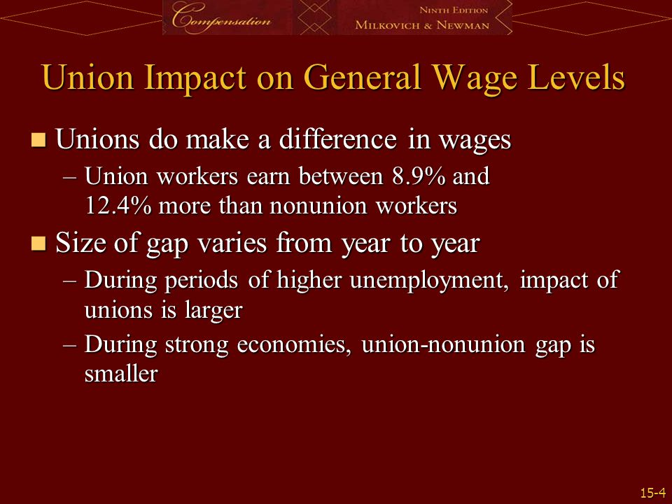 union role in wages and salary adminitration Since 1980 unions have experienced lower than normal wage increases 40 percent of workers say they would vote for a union to get their needs met since 1997, there has been a small increase in union election victories.