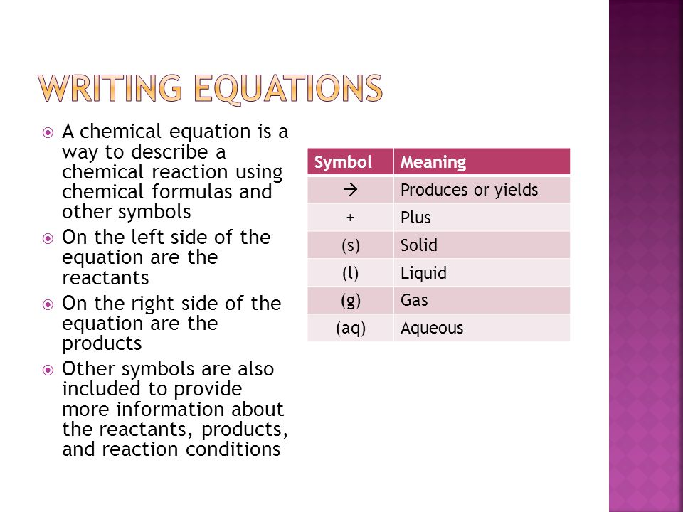 Writing Equations A chemical equation is a way to describe a chemical reaction using chemical formulas and other symbols.