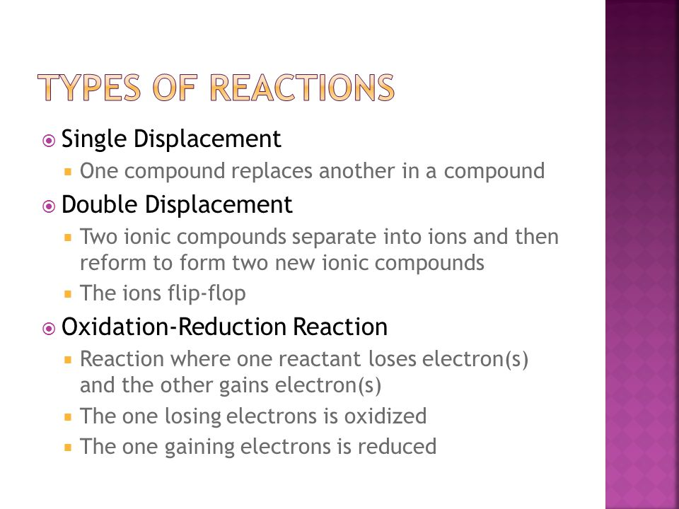 Types of REactions Single Displacement Double Displacement