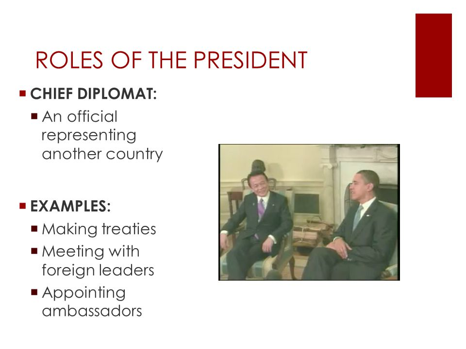 the role of the president in the country of america A summary of the president's roles in 's the presidency learn exactly what   role summary chief of state, acts as the symbolic leader of the country.