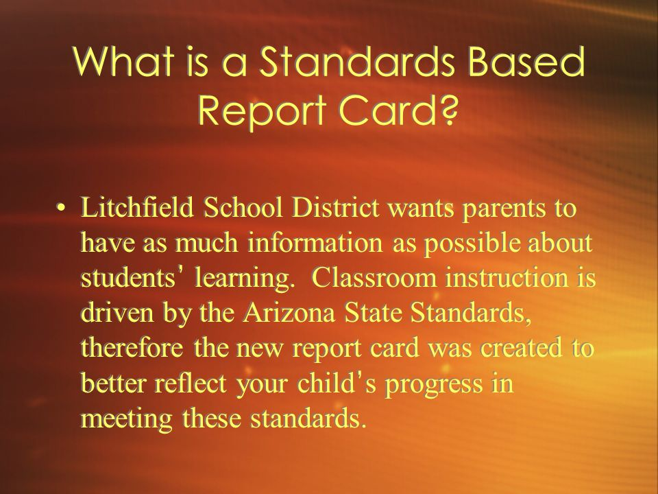 What is a Standards Based Report Card