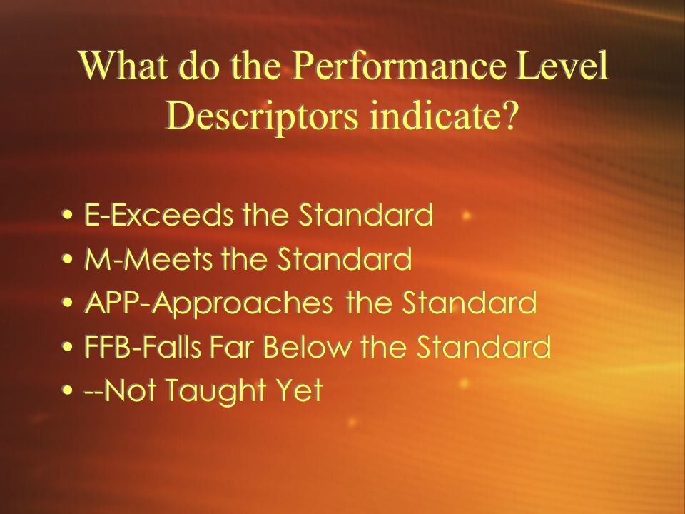 What do the Performance Level Descriptors indicate