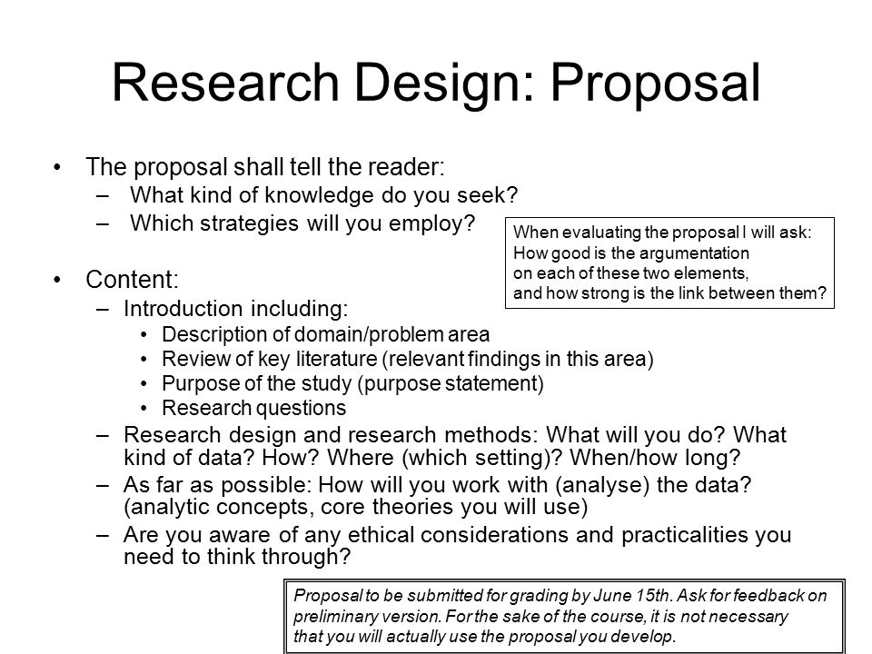 How to write study design in research proposal