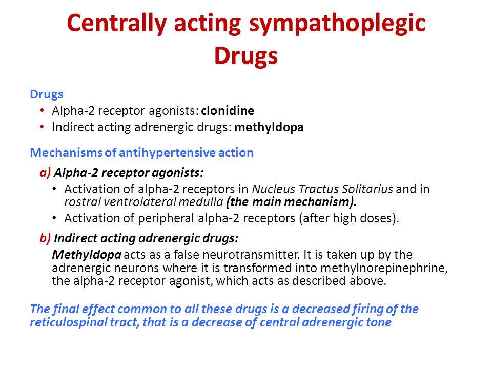 Centrally acting sympathoplegic Drugs