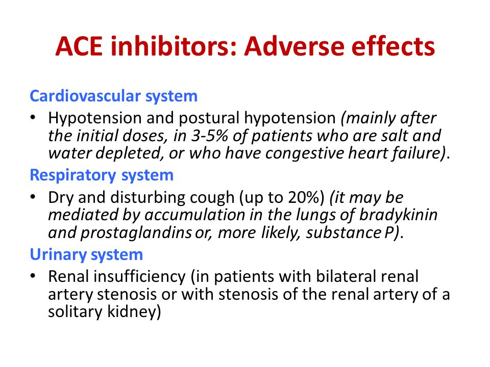 ACE inhibitors: Adverse effects