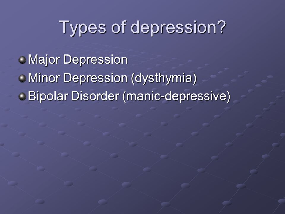 types of depression dysthymia atypical depression