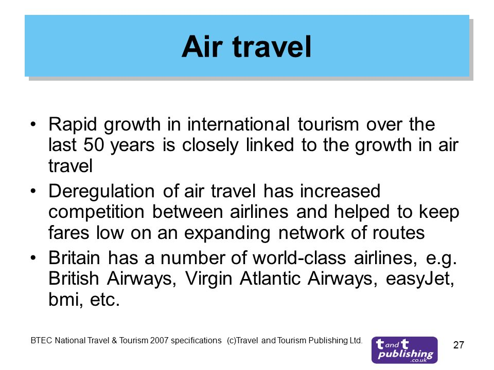 increased growth in air travel The impact of air transport on tourism tourism essay print the quality of air travel and reduced the price of because of the increased purchases of the.
