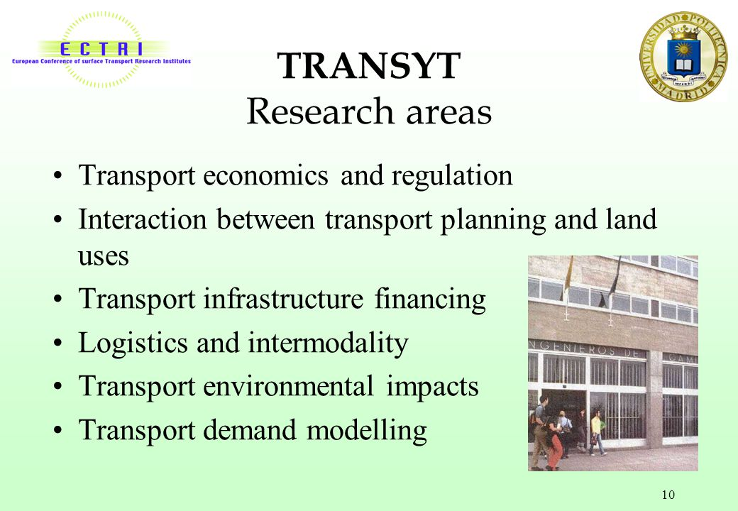 TRANSYT Research areas