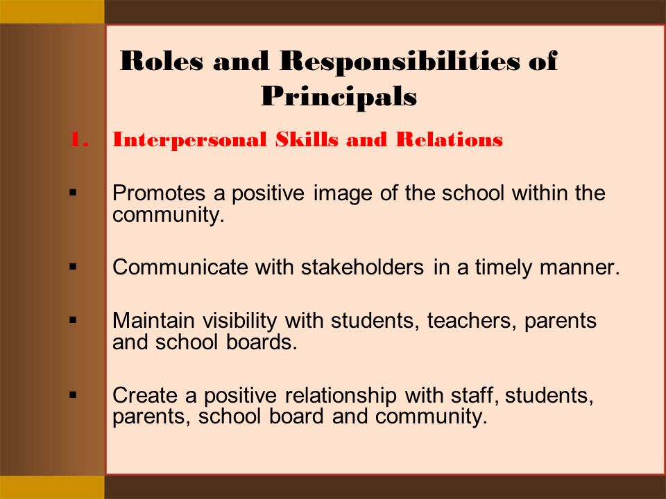 Roles and Responsibilities of Principals