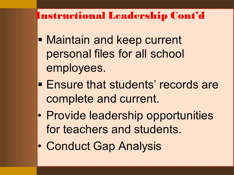 Instructional Leadership Cont'd