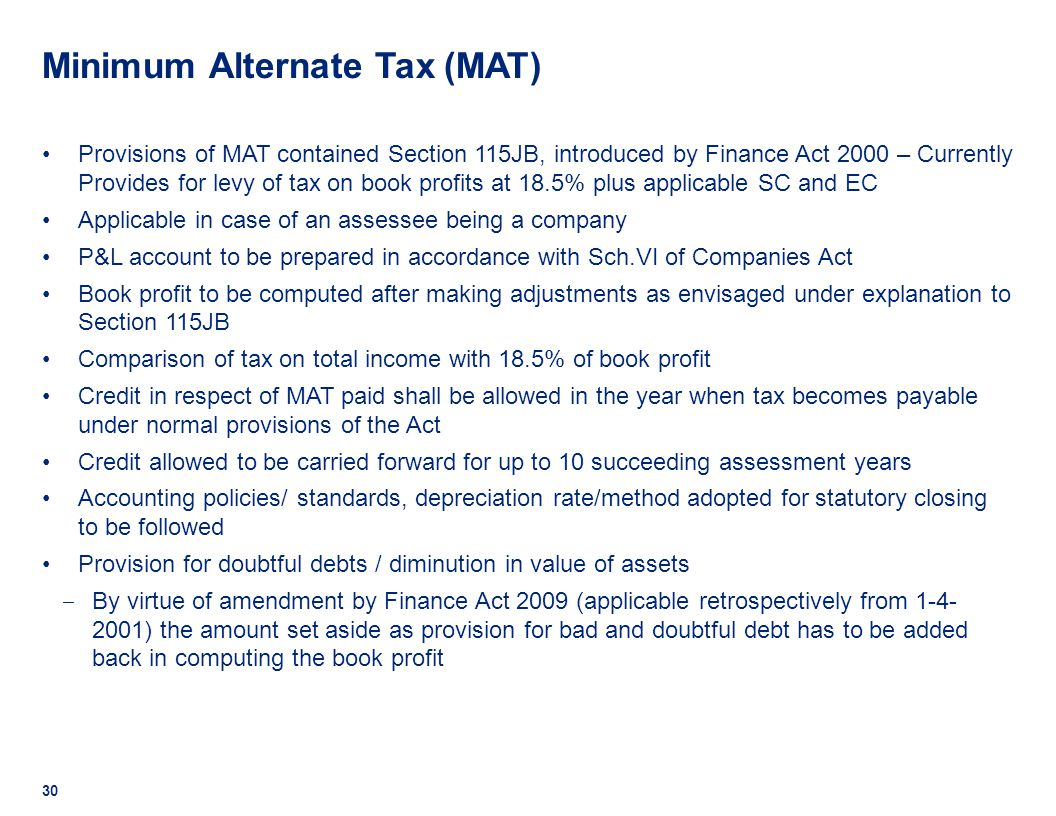 minimum alternate tax Overview of minimum alternate tax (mat) for company and alternate minimum  tax (amt) for llp in india mat and amt rate in is 185% with.