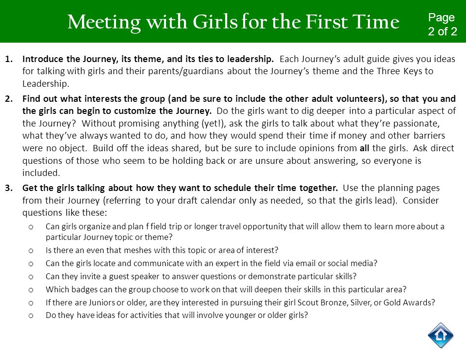 First meeting with girl