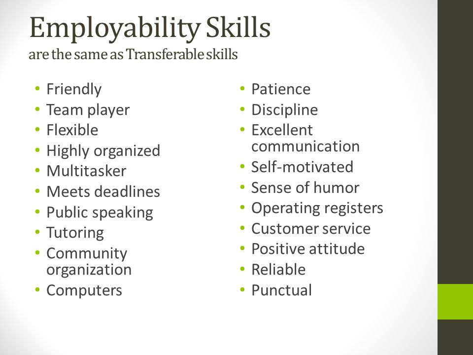 Resume transferable skills examples
