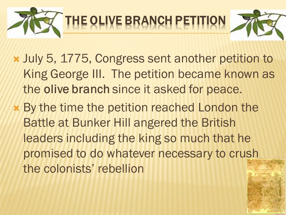 the olive branch petition and its contribution to the american revolution The olive branch petitionwhat is the olive branch petition and how did it come about olivebranchpetition eno ma thesis alcohol & the american revolution.