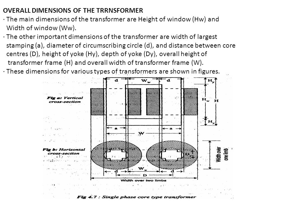 OVERALL DIMENSIONS OF THE TRRNSFORMER