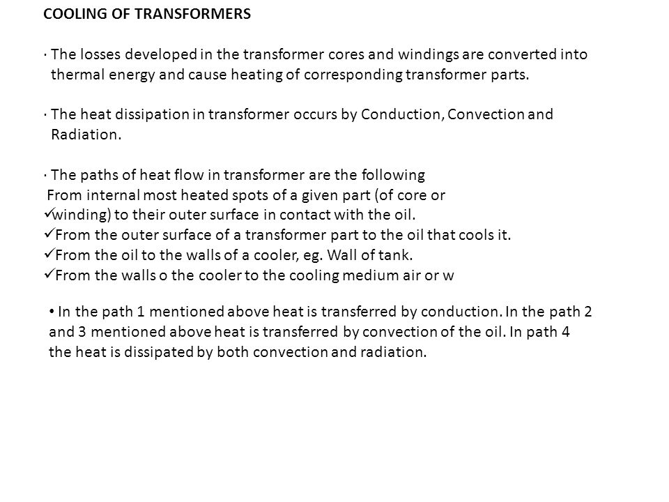 COOLING OF TRANSFORMERS