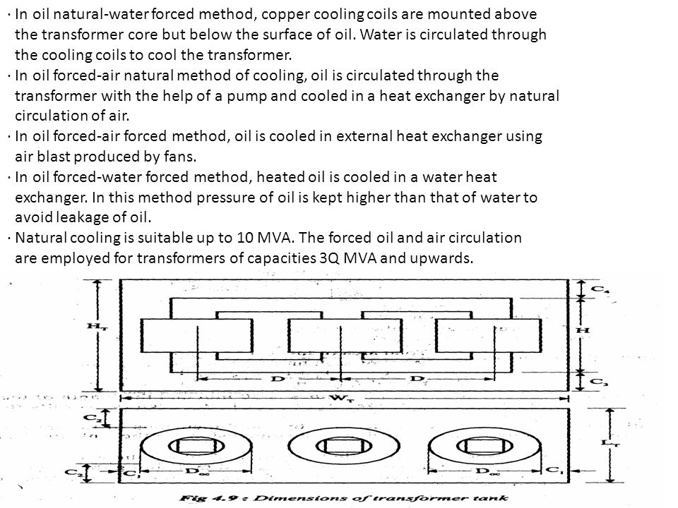 · In oil natural-water forced method, copper cooling coils are mounted above