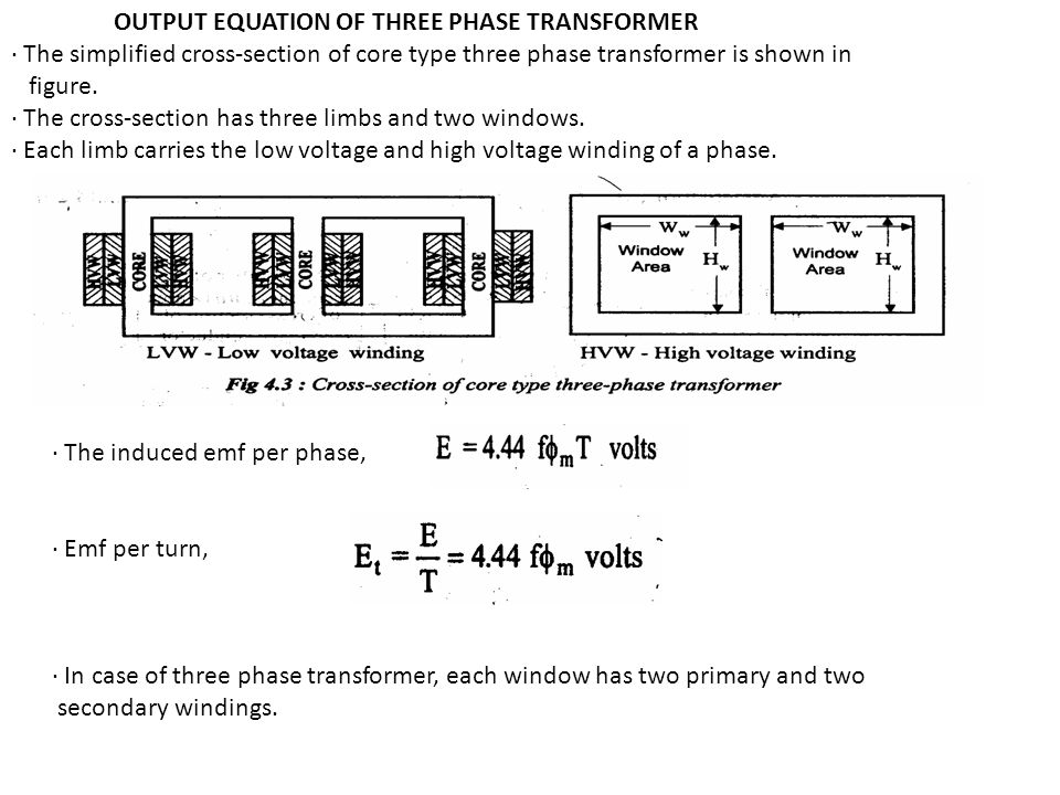 OUTPUT EQUATION OF THREE PHASE TRANSFORMER