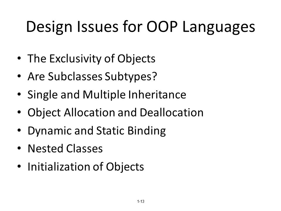 Design Issues for OOP Languages