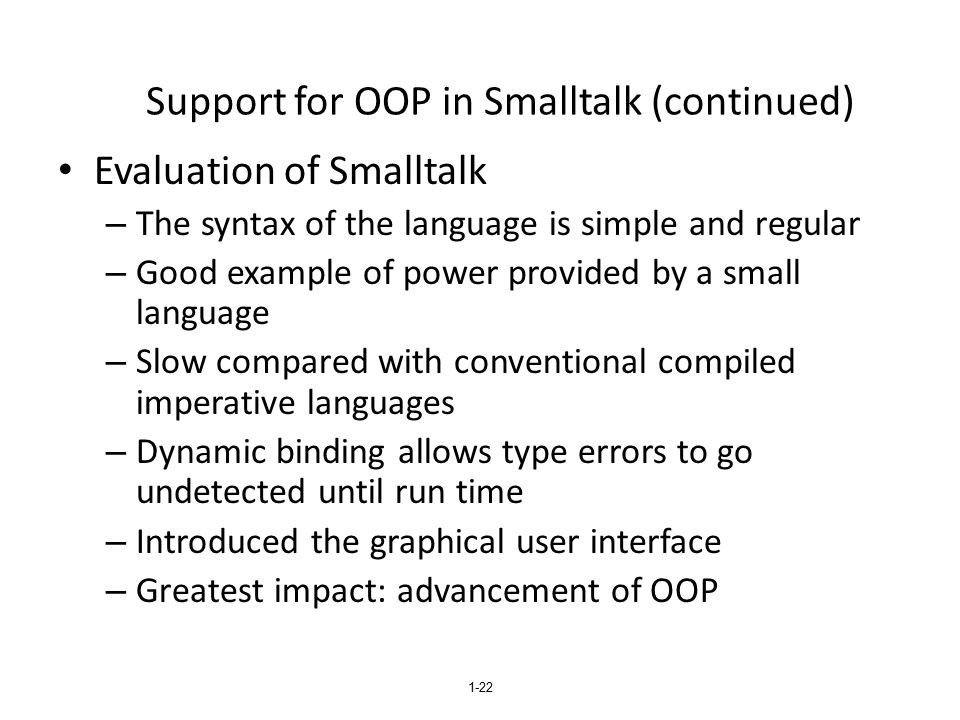 Support for OOP in Smalltalk (continued)