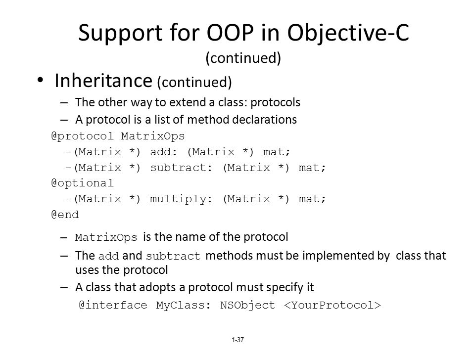 Support for OOP in Objective-C (continued)