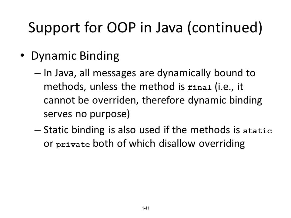 Support for OOP in Java (continued)