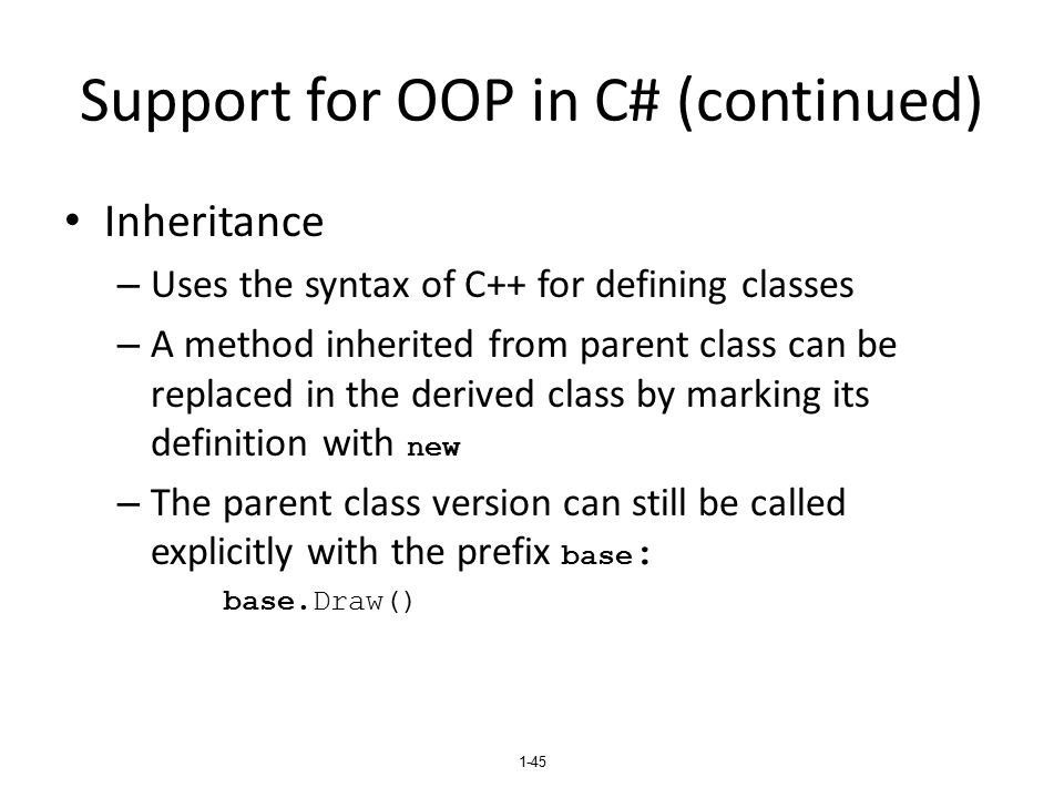 Support for OOP in C# (continued)