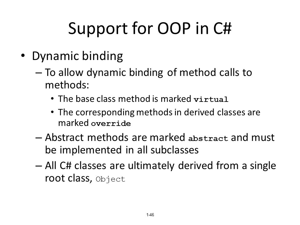 Support for OOP in C# Dynamic binding