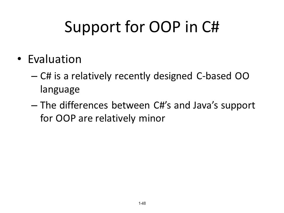 Support for OOP in C# Evaluation