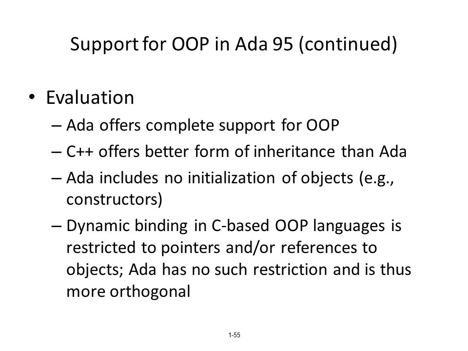 Support for OOP in Ada 95 (continued)