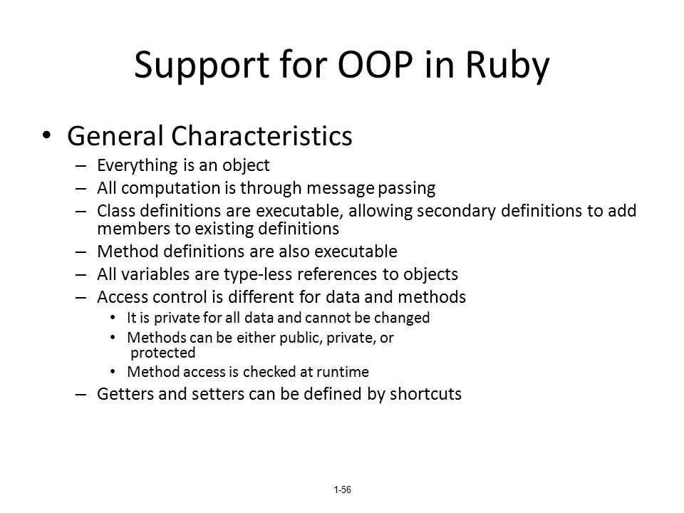 Support for OOP in Ruby General Characteristics