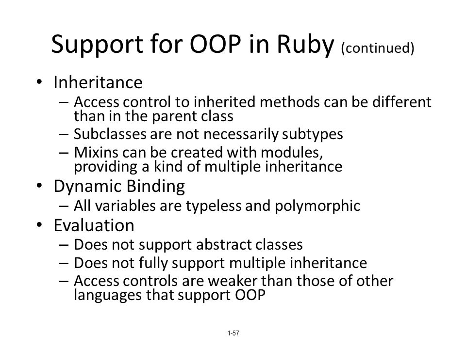 Support for OOP in Ruby (continued)