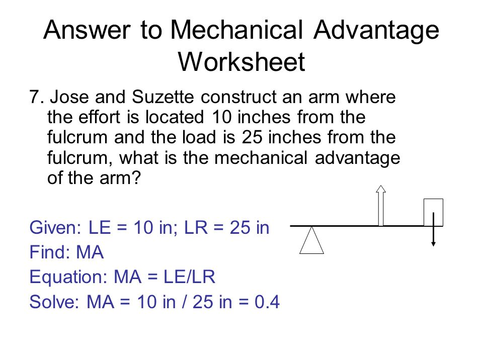 mechanical advantage of simple machines worksheet Termolak – Work and Machines Worksheet