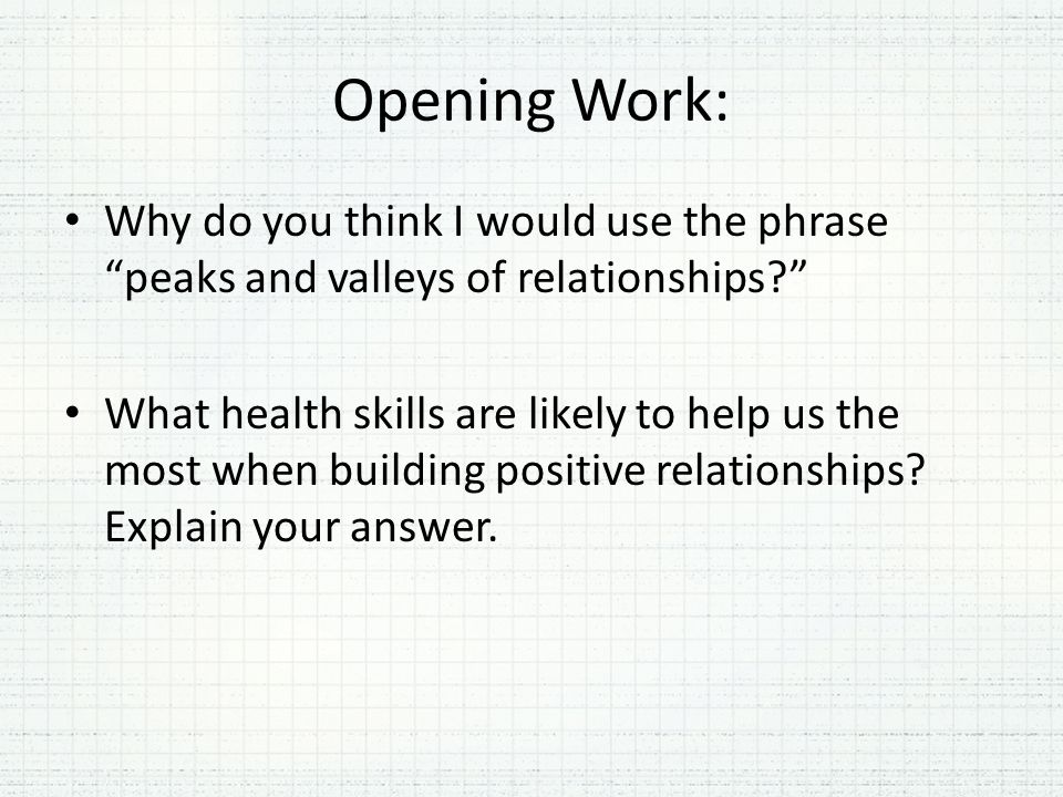 Opening Work: Why do you think I would use the phrase peaks and valleys of relationships