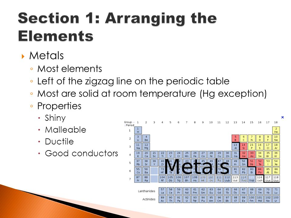 Chapter 12 material on midterm ppt download 10 section 1 arranging the elements metals most elements left of the zigzag line on the periodic table urtaz Image collections