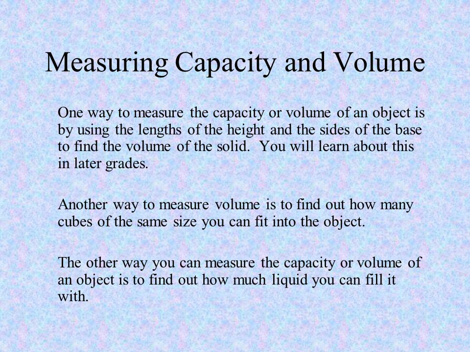 measuring capacity essay Essay writing guide lung volume measurement biology lab my hypothesis is that the breathing rate and tidal volume increases after vital capacity (l).