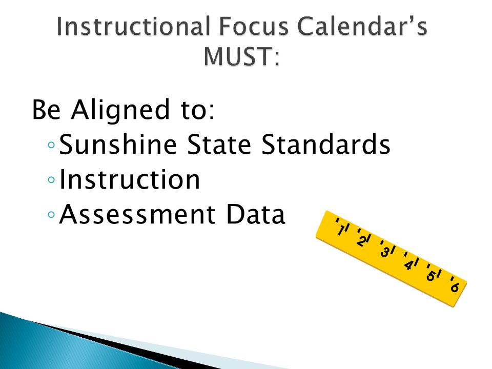 Instructional Focus Calendar's MUST:
