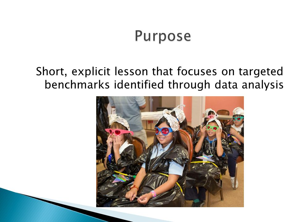 Purpose Short, explicit lesson that focuses on targeted benchmarks identified through data analysis.