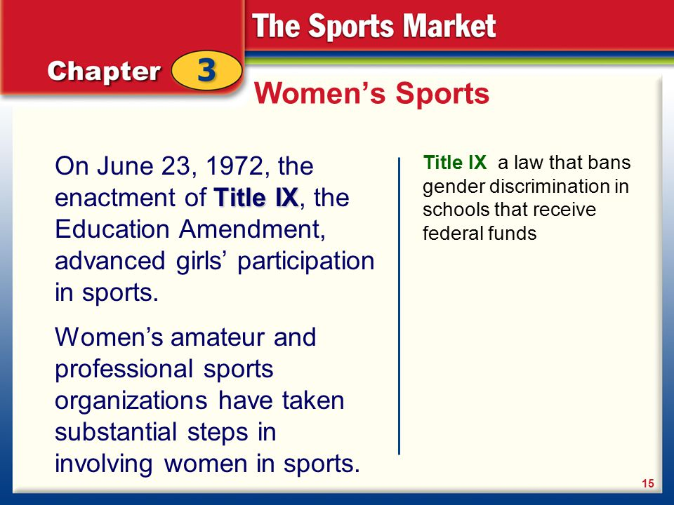 women and sports title ix This may marks the 40th anniversary of title ix, the crucial piece of legislation passed in 1972 that worked to ensure women's rights and combat gender discrimination, particularly in high school and college academia and athletics in sports, it's guaranteed equivalent, but not necessarily .