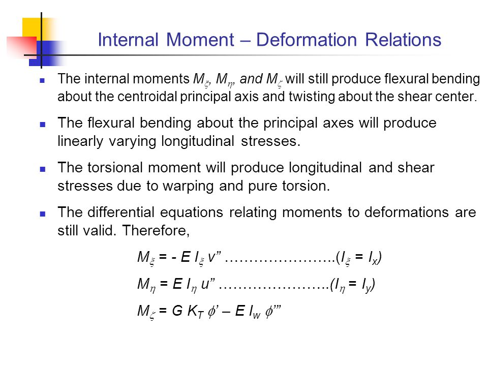 Internal Moment – Deformation Relations