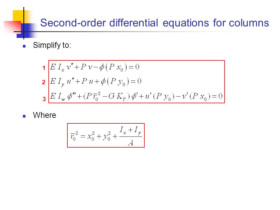 Second-order differential equations for columns