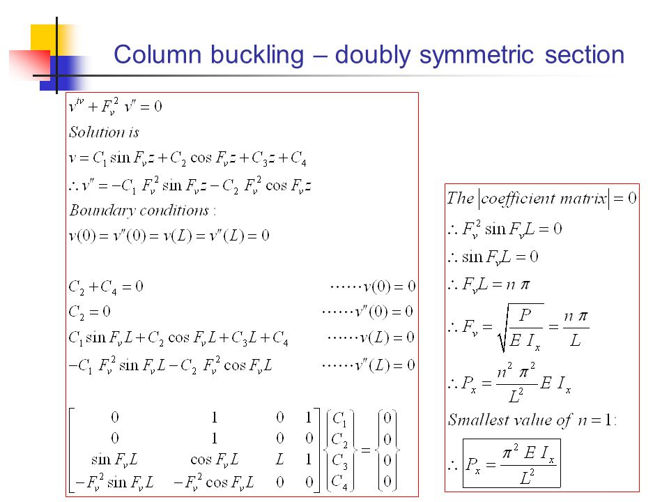 Column buckling – doubly symmetric section
