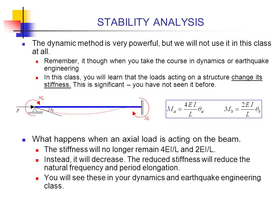 STABILITY ANALYSIS The dynamic method is very powerful, but we will not use it in this class at all.