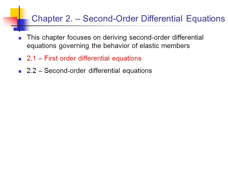 Chapter 2. – Second-Order Differential Equations