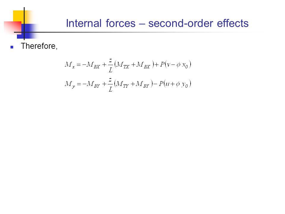Internal forces – second-order effects
