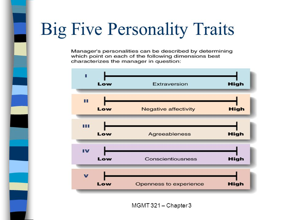the big five traits If you've taken a college psychology course or have any interest in personality, you've more than likely come across the term big five personality dimensions or personality traits.