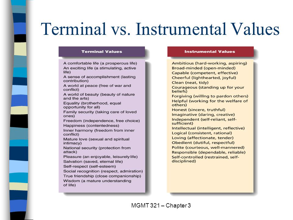 terminal and instrumental values In this video kelley distinguishes two different kinds of value: (1) intrinsic value-- the value that something has in itself--and (2) instrumental value--the value that.