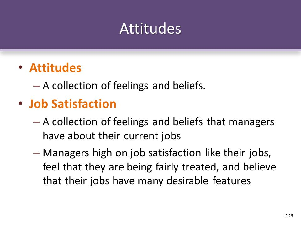 Attitudes Attitudes Job Satisfaction